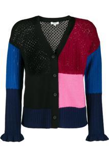 Kenzo Cardigan Color Block Com Botões - Rosa