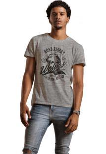 Camiseta Masculina Joss Mescla Road Riders Cinza