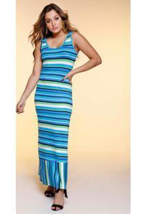 Vestido Longo Regata Listrada Com Fivela Azul