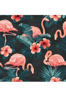 Papel De Parede Adesivo Flamingos Com Fundo Preto (0,58M X 2,50M)