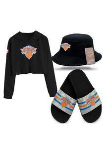 Moletom Cropped Chinelo Slide E Bucket Preto Personalizados New York Knicks.