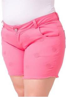 Shorts Feminino Com Bordado Plus Size - Feminino-Rosa