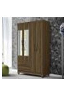 Guarda Roupa Âmbar Com 4 Portas Com Espelho - Cedro