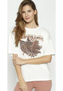 Camiseta Com Correntes- Off White & Marrom- Colccicolcci