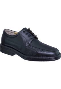 Sapato 100% Couro Anti-Stress Riber Shoes Cadarço Masculino - Masculino-Preto