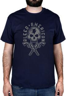 Camiseta Bleed American Skull Walker Azul-Marinho