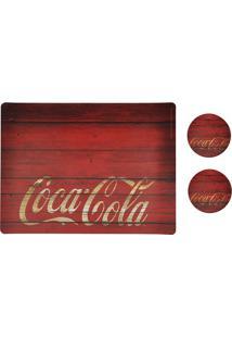 Jogo Americano E Porta Copos Coca-Cola Wood Style