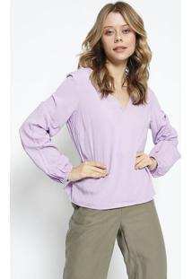 Blusa Lisa Com Elã¡Stico - Lilã¡S - Colccicolcci