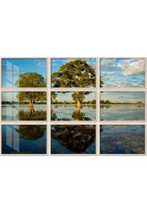 Quadro 150X225Cm Painel Paisagem Pantanal Brasil Moldura Natural Com Vidro