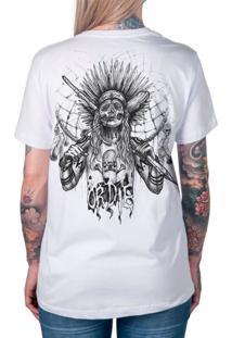 Camiseta Artseries Índio Caveira Skate Or Die Branco
