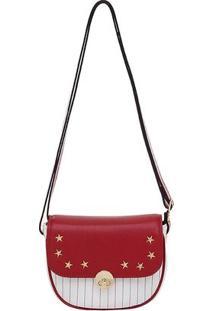 Bolsa Smartbag Transversal Estrela Branco/Red - 73032.18 - Feminino-Vermelho
