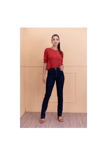 Calça Reta Sisal Jeans Azul Escuro