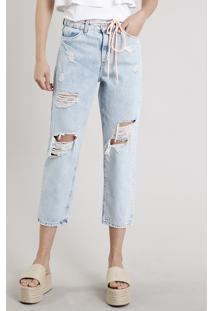 Calça Jeans Feminina Mom Cropped Destroyed Com Cadarço Neon Azul Claro