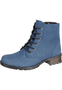 Bota Sapatofranca Casual Cano Curto Ankle Boot Com Cadarço Azul - Kanui