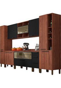Cozinha Modulada Completa 11 Peças Viv Concept C09 Black/Nogueira - Ki