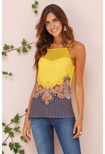 Blusa Alça Fina Amarela Floral Decote Renda