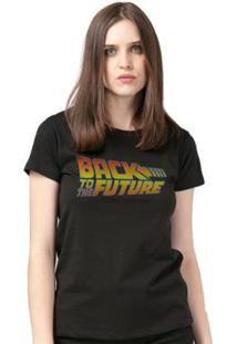 Camiseta Bandup! Back To The Future Logo - Feminino-Preto