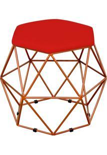 Puff Decorativo Aramado Bronze Six Suede Vermelho - Lyam Decor