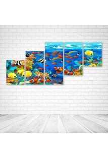 Quadro Decorativo - Dolphin Sea Seabed Fish Corals - Composto De 5 Quadros