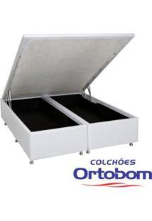 Box Queen Com Baú - Bi-Partido - Corino -Branco - Ortobom