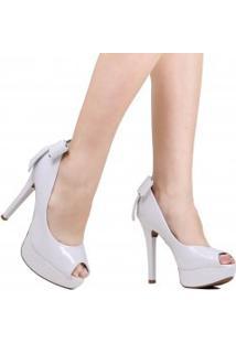 Sapato Vizzano Peep Toe Noivas Laço