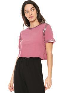 Camiseta Cropped Lança Perfume Com Broche Rosa
