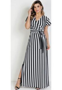 Vestido Listras Preta Com Faixa Moda Evangélica