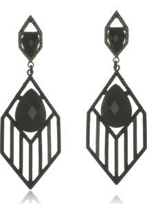 Brinco Le Diamond Geométrico Cristal Preto