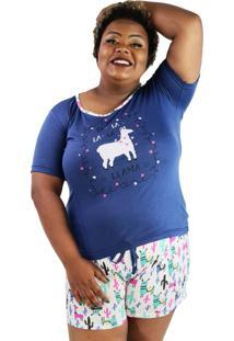 """Pijama Feminino Fa-La-La-La"""" Azul Marinho Shorts Branco Plus Size"""""""