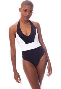 Body Moda Vício Recortes Com Bojo Feminino - Feminino-Preto+Branco
