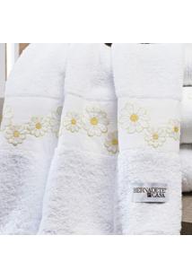 Jogo De Banho Nuance 5 Peças Algodão Bernadete Casa Branco/Amarelo
