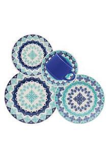 Aparelho De Jantar Biona Lola 30 Peças Cerâmica Azul