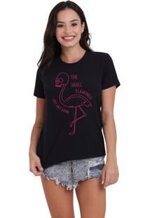 Camiseta Feminina Jay Jay Flamingo Caveira Preta - Kanui