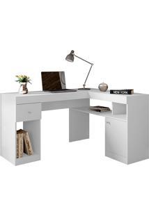Mesa De Computador Com 1 Gaveta Nilo Fosco-Caemmun - Branco Fosco