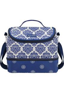 Bolsa Térmica Dupla- Branca & Azul Escuro- 19,5X23X1Jacki Design