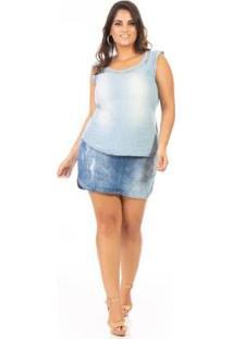 Regata Jeans Tshirt Com Laço Plus Size Confidencial Extra Feminina - Feminino-Azul