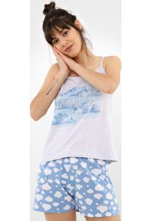Short-Doll Malwee Liberta Dreams Cinza/Azul