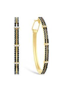 Brinco Duo Ouro Amarelo Diamantes Brancos E Negros