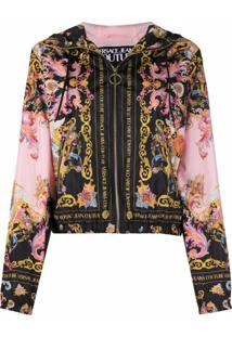 Versace Jeans Couture Versailles Print Hooded Jacket - Preto