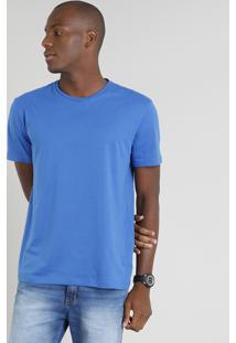Camiseta Masculina Básica Manga Curta Gola Careca Azul Royal