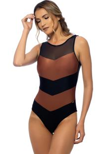 Body Kalini Beachwear Exclusive Marsala Preto