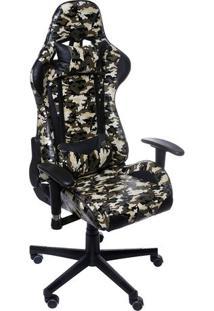 Cadeira Office Gamer- Preta & Verde Escuro- 117X60X5Or Design
