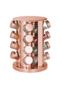 Porta Condimento Giratório Em Aço Inox Rose Gold - 16 Peças