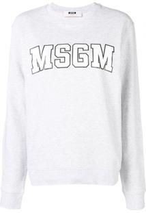 Msgm Blusa De Moletom Com Estampa De Logo - Cinza