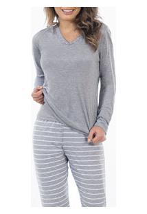 Pijama Longo Listrado Laibel (15.011496) Mescla