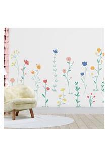 Papel Parede Menina Jardim Florido Gráo De Gente Multicolorido