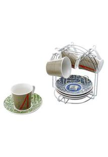 Xicaras Cafe Jogo Com 4 Xicaras E 4 Pires Retro Chaves Com Suporte