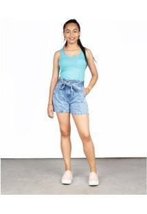 Bermuda Jeans Besni Clochard Bolsos Puídos Feminina - Feminino-Azul+Off White