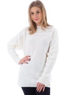 Blusa De Malha Gola Canoa Trança Feminina - Feminino-Off White