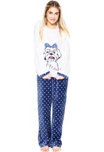 Pijama Any Any Dot Lhasa Branco/Azul